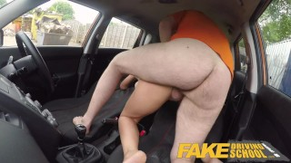 Fake Driving School Spunk covered pussy for busty British babe Alice Judge Skinny charity