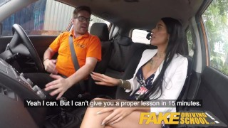 Fake Driving School Spunk covered pussy for busty British babe Alice Judge Skinny cumshot