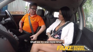 Fake Driving School Spunk covered pussy for busty British babe Alice Judge Outdoors czech