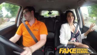 Fake Driving School Spunk covered pussy for busty British babe Alice Judge Paramore69 anal