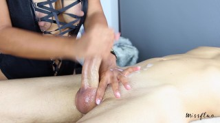 MissFluo - Mistress gives Best Edging Handjob, Ruins 2 Times + Final Cum Between on