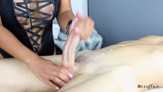 MissFluo - Mistress gives Best Edging Handjob, Ruins 2 Times + Final Cum Big milf