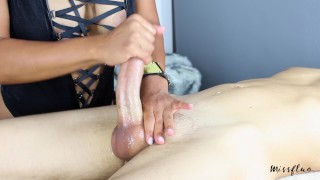 MissFluo - Mistress gives Best Edging Handjob, Ruins 2 Times + Final Cum Outside big