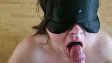Sexy BBW puts on a mask and gets a face full of cum