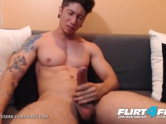 Jhonny Stark on Flirt4Free - Dominating Toned Latino Jerks Big Cock for Cam
