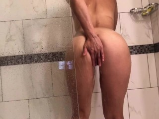 Anal beads loading young latina gets fucked hard & ate out in shower!#, hot shower sex hot shower fu