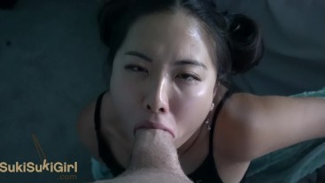 upside down THROATFUCK for Asian @SukiSukiGirl
