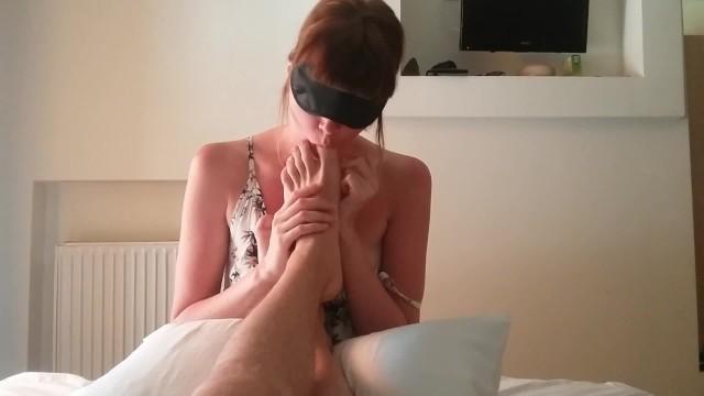 Feet Licking, Rimming and Sucking Dick – Cute Shy Girl Makes Blowjob