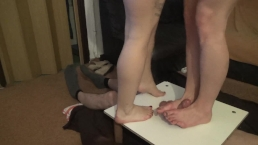 two pairs of merciless legs trample cock and balls3 - CBT trampling