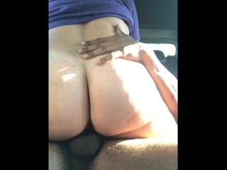 Thick blonde PAWG gets creampied while riding BBC in backseat