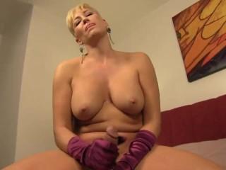 Silk glove handjob from my hot Mom - TabooPOV.com
