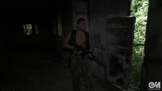 Hot military guy masturbating and cumming after patrol in Ultra HD video Off off