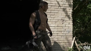 Hot military guy masturbating and cumming after patrol in Ultra HD video Outside skinny
