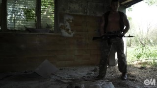 Hot military guy masturbating and cumming after patrol in Ultra HD video Booty fucks