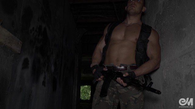 5000 gay video - Hot military guy masturbating and cumming after patrol in ultra hd video