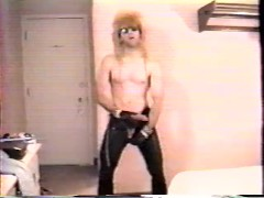 me cuming while wearing leather pants in 1990's, VHS quality