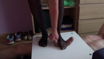 CBT and femdom trampling with black nylon