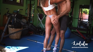 Fit and Tanned Girlfriend Fucked Hard in the Gym - Amateur Couple LeoLulu Bellringer sucking