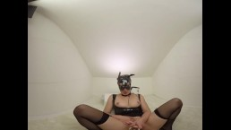 150 - Teressa Birarre Noir tee bat girl masturbate with dildo - 3DVR180 SBS