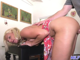 Brother sister blowjob tricked mature blonde mom with nice tits enjoys a young mans cock, milftrip m