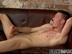 Sweet gay stud chokes his cock and cums on himself solo
