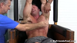 Muscular stud Joey J breaks down from rough tickling Edging sucking