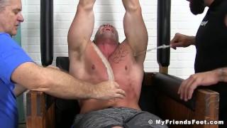 Muscular stud Joey J breaks down from rough tickling Stroking amateur
