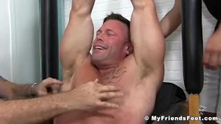 Muscular stud Joey J breaks down from rough tickling