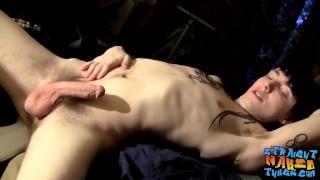 Inked straighty tough guy Blinx masturbating solo hard
