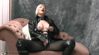 Blonde rubs big tits with leather masturbates in pantyhose femdom with whip