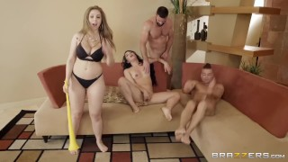 BRAZZERS HOUSE SEASON 3 EP2 Lena Paul hosts a free for all sex challenge Gangbang thot