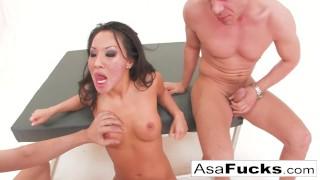 Asa Akira has a hot anal threesome Missionary shaved