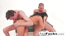 Asa Akira has a hot anal threesome