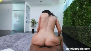 Thick White PAWG Gets Creampied and Facialed Fucking 2 Black Guys Cowgirl phat