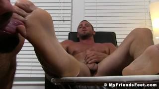 Deviant businessman Ray toe licked while masturbating
