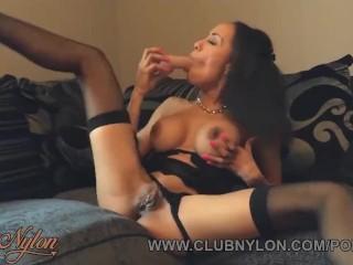 Ebony slut Alyssa Divine strips fingers pussy toys in lingerie nylons heels