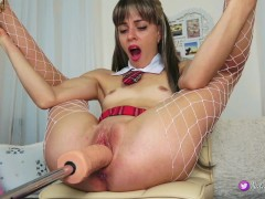 Naughty schoolgirl,loves sex machine.Record Live stream 8