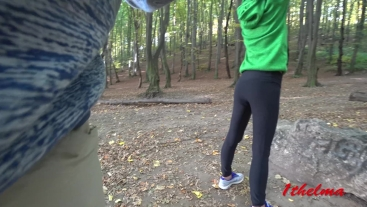 Petite Skinny Teen in Yoga Pants Suck a Stranger in Public role play. 4k