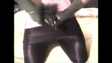 black tights and black cock sheath VHS quality filmed in the 1990's