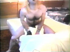 Humped a pillow wearing black tights and black cock sheath, 1990's VHS copy