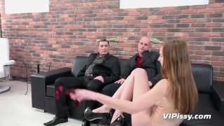 Piss Drinking - Threesome piss fuck for British redhead porno