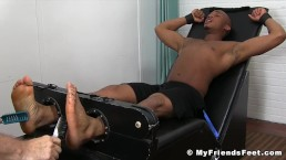 Black jock Trent King tied up and tickled vigorously