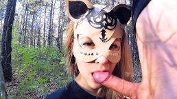 Pretty schoolgirl masturbates and sucks dick in the forest - public blowjob