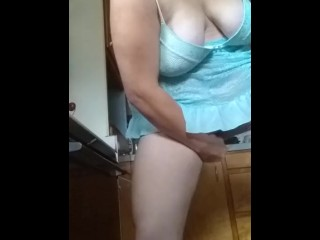 Lonely wife plays with dildo in the kitchen
