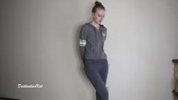 Horny wetting girl in a grey leggings