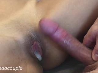 Hot saggy ass cumming in my ass for the first time ass fuck big cock creampie anal
