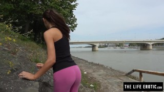 Caught masturbating jogger public a cute almost park in tall mother
