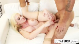 Leya Falcon squeezes cum from her pussy into another guy's mouth