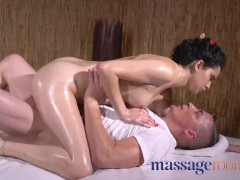 Massage Rooms Petite young Spanish darling oiled and fucked by masseur