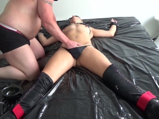Daddy's dirty slut being tied up, abused and getting fucked really hard